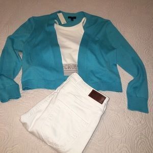 Talbots blue cropped sweater or shrug, XS, NWT